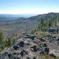 From High Lake's eastern rim, looking south toward Mud Lake.- Slide Lake via High Lake