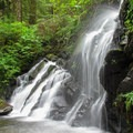 Triple Creek Falls is at its best when charged by snowmelt or recent rains.- Triple Creek Falls