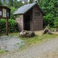 Vault toilets at Boardman Creek Group Campground.- Boardman Creek Group Campground