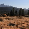Tuolomne Meadows. Unicorn Peak (10,823'), left, and Cathedral Peak (10,912'), right, rise above.- Tuolumne Meadows