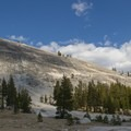 Lembert Dome (9,449') is one of many large granite domes in the meadow.- Tuolumne Meadows