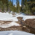 Several creeks create bare patches and semi-hazardous crossings on the trail.- Andesite Peak