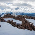The crags at Andesite Peak. The slopes of Northstar and Boreal ski resorts are visible.- Andesite Peak