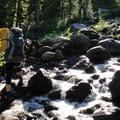 Morning crossing of Kulshan Creek.- Mount Baker via Coleman Glacier