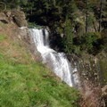 From a narrow, grassy trail, the top of Golden Falls lies ahead.- Golden + Silver Falls