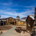 View of some of the restored buildings of the ghost town.- Castle Dome Mines Museum and Ghost Town