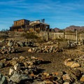 The cemetery and some of the buildings on the mine site.- Castle Dome Mines Museum and Ghost Town