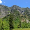 The waterfall-littered northern wall of Enchanted Valley.- Anderson Glacier via Enchanted Valley