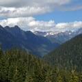 Eastward view from Anderson Pass into the Dosewallips River Valley.- Anderson Glacier via Enchanted Valley