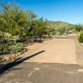A typical RV site has a long pad, a table, and a grill. And a cacti.- Twin Peaks Campground