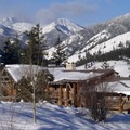 Sun Mountain Lodge during the winter months with Gardner Mountain (8,898') at left.- Sun Mountain Lodge