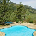 Sun Mountain Lodge swimming patio.- Sun Mountain Lodge