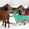 Horse drawn sleigh at Sun Mountain Lodge.- Sun Mountain Lodge