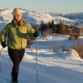 Cross-country skiing on the groomed trails at Sun Mountain Lodge.- Sun Mountain Lodge