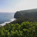 Pololu Valley as viewed from the small parking area at the trailhead. A sliver of the black-sand beach can be seen near the center of this image.- Awini Trail