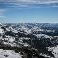 Looking south from Basin Peak (9,018'). The three peaks of Castle Peak are visible to the left.- Castle Peak + Basin Peak