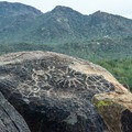The petroglyphs are set in a spectacular natural setting.- Signal Hill Petroglyphs