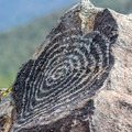 Some of the petroglyphs are geometric designs.- Signal Hill Petroglyphs