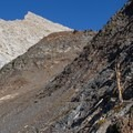Trail to Monarch Lake with Sawtooth Peak in view.- Columbine Lake