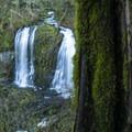 Upper McCord Creek Falls in winter.- Elowah Falls HIke
