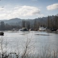 The Multnomah Channel diverges from the Willamette River just prior to its confluence with the Columbia River, forming Sauvie Island's western waterway.- Wapato Access Greenway Trail + Virginia Lake