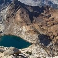 Lower Monarch Lake (right) and Upper Monach Lake (left) as seen from Sawtooth Peak.- Monarch Lakes Hike