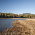 Thompson Reservoir and Hager Mountain (7,185') from East Bay Campground.- Thompson Reservoir, East Bay Campground