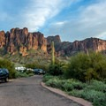 The dense desert vegetation affords plenty of privacy.- Lost Dutchman State Park Campground