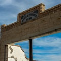 The Porter Mercantile building has a well-preserved facade.- Rhyolite Ghost Town