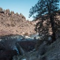 Notice the remains of the old fish ladder at the base of the tree.- Steelhead Falls