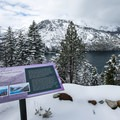 Angora Fire Lookout with vistas of Mount Tallac, Fallen Leaf Lake, and Lake Tahoe.- Angora Lookout + Angora Lakes