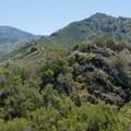 The trail continues along the ridge.- Eagle Peak Loop