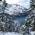 A view over Fallen Leaf Lake from the Angora Ridge Road.- Angora Lookout + Angora Lakes