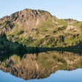 Heart Lake reflection.- High Divide Loop