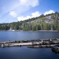 Richardson Lake with the Pacific Crest Trail across the water.- Ludlow Hut