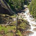 The Mist Trail below Vernal Falls.- Vernal Falls Hike via Mist Trail