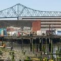 View west toward the Astoria-Megler Bridge. Built in 1966, it is still the longest truss span bridge in the world.- Astoria Riverwalk Trail