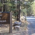 Campground entrance off Highway 120/Tioga Pass Road.- Tuolumne Meadows Campground
