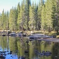 The Lyell Fork of the Tuolumne River flows next to the campground.- Tuolumne Meadows Campground