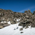 The final ascent is a scramble up sharp loose stone.- Mount Tallac, Glen Alpine Trail