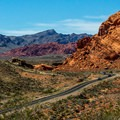 The main park road reveals the unreal colors of the landscape.- Valley of Fire State Park