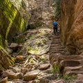 This stone stairway is just before the chain section.- Hidden Canyon Trail