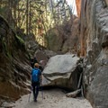 The official trail ends at the beginning of Hidden Canyon, but obstacles are not difficult to climb.- Hidden Canyon Trail