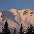 Lassen's northeast face at sunrise. The north ridge is on the right.- Lassen Peak: North Ridge Shoulder Backcountry Ski