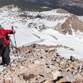 Encountering a mix of rock, ice, and snow. - Lassen Peak: Dirty Martini Chute Backcountry Ski