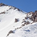 The upper reach of Lassen's north ridge.- Lassen Peak: Dirty Martini Chute Backcountry Ski