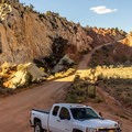 The parking area is just a small turnout beside some interesting rock formations.- Cottonwood Narrows