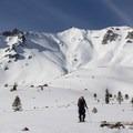 Heading to the north ridge.- Lassen Peak: Dirty Martini Chute Backcountry Ski