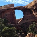 Double O Arch viewed from the east.- Devils Garden + Primitive Trail
