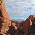 Looking south out of the Fiery Furnace toward the La Sal mountains.- Fiery Furnace